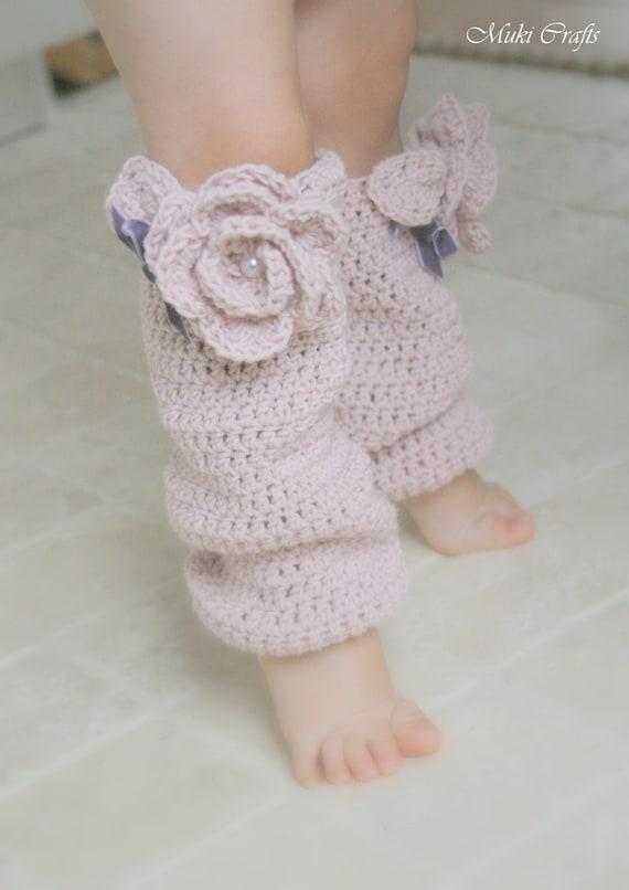 CROCHET  PATTERN romantic leg warmers Sandy with flower (newborn to child sizes)