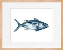 Tuna Fish Print, Tuna Art, Tuna Watercolor, Fish Art, Fishing Decor, Fish Wall Art, Beach Cottage, Watercolor Painting, Home Decor, Art