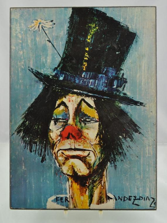 Original Vintage 1960s Board-Mounted Print Of Clown Au Chapeau by Spanish Artist Rosy Fernandez-Diaz