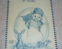 Fantasy Easter Dutch Boy Breaks Through Shell of Giant Easter Egg and Bunny Rabbit Looks On A/S Wall Antique Postcard