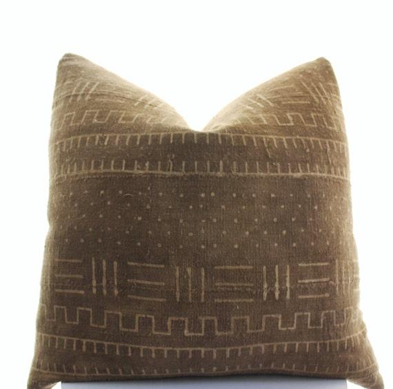 African Mudcloth Pillow Cover Boho Pillow SKU10152 Brown