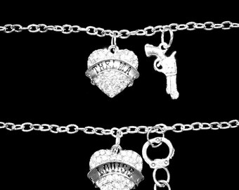 Best Friend Gift, Best Friend Bracelet, Thelma Louise Charm Bracelet, Partners In Crime, Gun Handcuff Friends Friendship Charm Bracelet Set