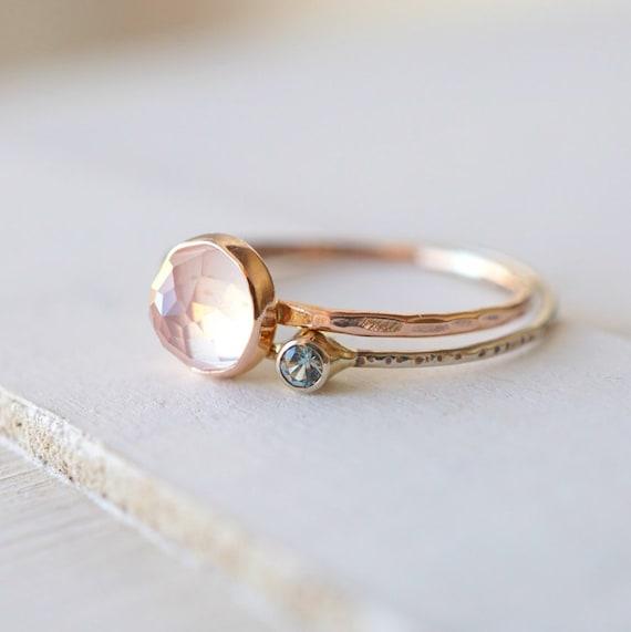 Rose Quartz Moissanite Ring