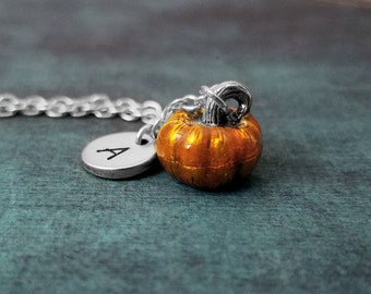 Pumpkin Necklace SMALL Pumpkin Jewelry Pendant Necklace Enamel Charm Necklace Autumn Jewelry Fall Necklace Initial Necklace Personalized