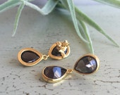 Smokey Quartz.  Drop Earrings. Faceted.  Stud.  18K Gold Vermeil. Sterling Silver