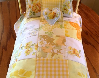 "Yellow Doll Bedding Set, 18"" Doll Quilt, Doll Bedding for AG, Girl Gift, Vintage Sheeting Doll Bedding, Ready to Ship"
