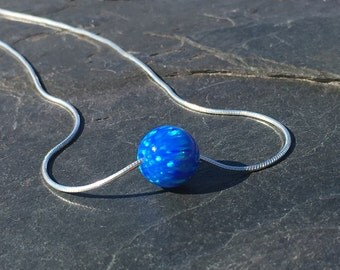 Blue Opal Ball Necklace on 925 Sterling Silver Chain