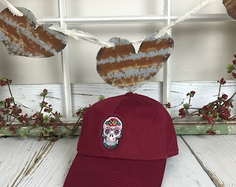 Dia De los Muertos Skull Day of the Dead Embroidered Halloween Baseball Cap Low Profile Curved Bill - Burgundy