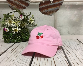 New Cherry Embroidery Baseball Cap Light Pink Low Profile Curved Bill Dad Cap
