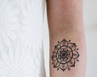 Mandala temporary tattoo / bohemian temporary tattoo / boho temporary tattoo / mandala gift / mandala fake tattoo / boho gift idea / mandala