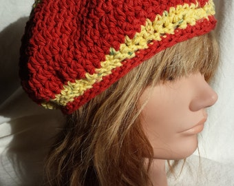 Cotton Orange and Yellow Slouch/Beanie Hat