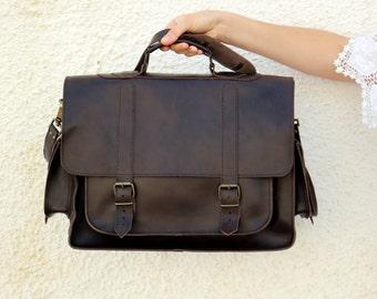 Leather Messenger Bag  - 17 inch Laptop Bag - Leather Briefcase - 2 side pockets Dark Brown - shoulder bag, mens leather bag
