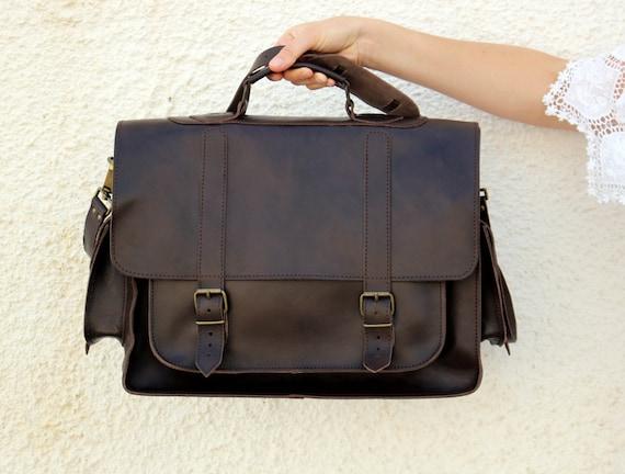 Leather Messenger Bag 17 inch Laptop Bag Leather