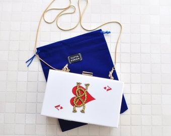 Bridal clutch, evening bag, bridal gift, bridal bag, Alice in Wonderland clutch, Alice bag, white bag, heart bag, heart clutch, Alice