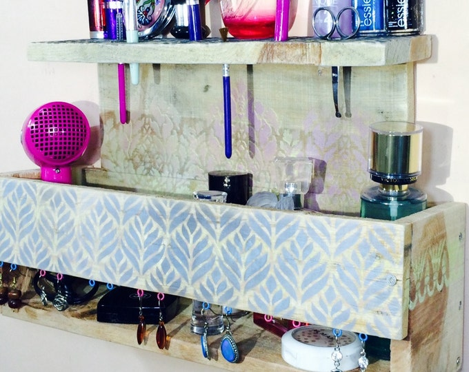 Bathroom vanity/ makeup organizer/ blush brush holder /Moroccan bath room wall decor reclaimed wood storage nightstand earring holder hooks