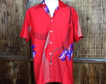 Vintage, VTG, 70's 80's Resort Line Hawaii Button Up Shirt Sz. Large Hawaiian Aloha Island Retro Men's