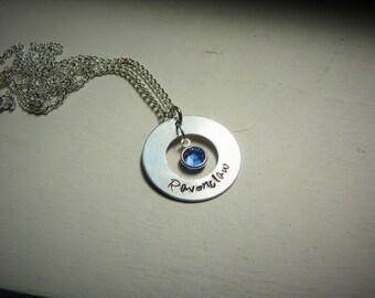 Ravenclaw, hand stamped necklace, Swarovski crystal