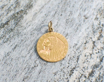 Vintage 1926 Indian Head 2 1/2 Dollar Gold Coin Pendant Charm