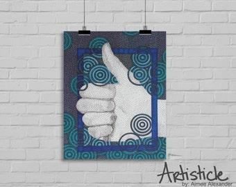 Thumbs Up Print - Motivational Artwork - Team Poster - Blue Geometric Art - Stipple Drawing - Hand Drawing - Office Wall Decor - Navy Art