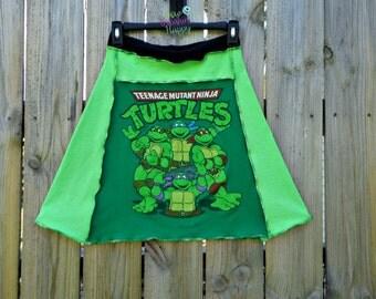 Upcycled T Shirt Skirt , Ninja Turtles Skirt , Recycled T Shirt Skirt , Eco Fashion Skirt , Green T Shirt Skirt , Repurposed T Shirts ,