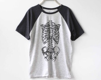 Skeleton Shirt Bone Bones Baseball Raglan Shirt Tee TShirt