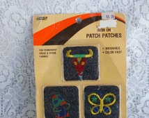 1970s Set of Three Iron On Patches by Pentapco Blue Denim NOS Sealed Package Mushroom Butterfly and Bull