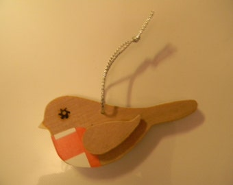 Wooden Hanging Robin