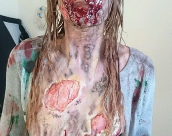 Zombie latex face prosthetic halloween fancy dress