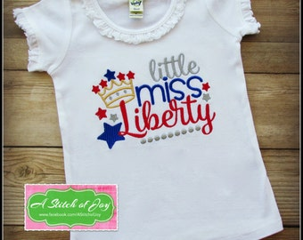 July 4th, Fireworks, Independence Day, Fourth of July, Little Miss Liberty Bodysuit or Shirt, July 4th Shirt, Little Miss 4th of July