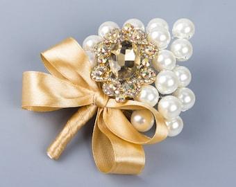 Elegant Champagne Boutonniere - Pearls and Rhinestones
