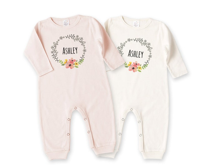 Personalized Newborn Girl Coming Home Outfit, Newborn Girl Outfit, Baby Girl Take Home Romper, Baby Name Outfit, Pink Floral, Tesababe