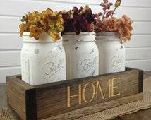 Mason Jar Centerpiece, Wood box centerpiece, Long wood box, Rustic wood centerpiece, Candle holder