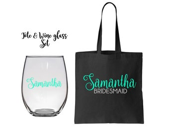 Totes and Wine Glass Set, Bridesmaid Gifts, Bridesmaid Tote Bags, Bridesmaids Totes and Wine Glass Set, Bridal Party Gift, Wedding Bags