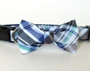 Blue Plaid Dog Collar Bow Tie set, plaid, pet bow tie, collar bow tie, wedding bow tie