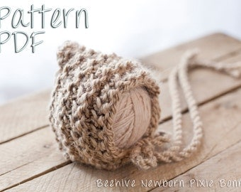 Beehive Newborn Pixie Bonnet Pattern, PDF Knitting Pattern, Instant Download, knitted baby bonnet patterns, Knit Baby Hat, Newborn Hat, Knit