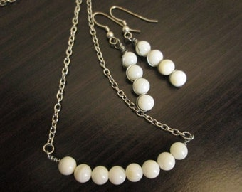 Beaded Bar Necklace and Earring Set