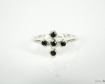Handmade Adjustable/Open 925 Sterling Silver Cross Black Zircons Ring