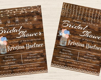 Rustic Mason Jar Lights Bridal Baby Shower Invitation