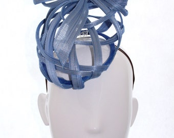 Sky Blue Small Ribbons Hat - Spring Racing Carnival, Bespoke Headwear