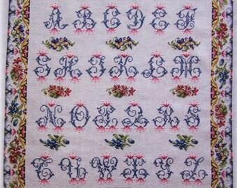 CROSS STITCH CHART French Antique Sampler Pattern 'Abecedaire aux Fleurs'