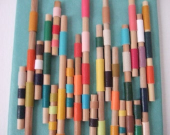 Coloured Poles original mixed media assemblage wall art