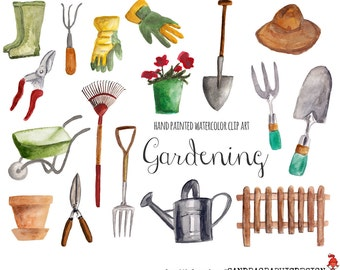 Gardening clip art, hand painted watercolor floral clipart, watercolor clipart, garden clipart, 17 clipart 300 dpi PNG  files (5234)