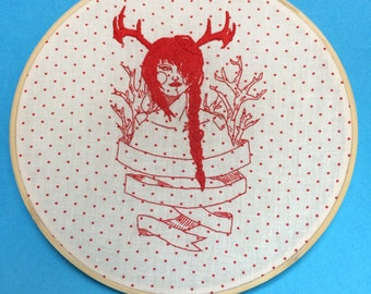 Bambi, embroidered hoop art