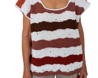 Brown and white crochet crop top - striped top - cotton top - summer top - sleeveless top - crochet top