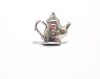 Tea pot charm, tea kettle charm, living memory necklace charm, charms, floating locket charm, charm, tiny charm, necklace charm