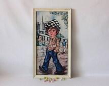 Vintage Poulbot like portrait, French artist Montmartre Paris, Parisian Titi or street urchin, MariusetJeannette