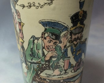 Soldiers Drinking Villeroy and Boch Mettlach Beaker; german, mettlach beaker, villeroy and boch