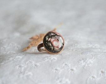 Hand painted ring made from natural wood, recycled tree branch adjustable ring, black and pink magic ring, organic jewelry