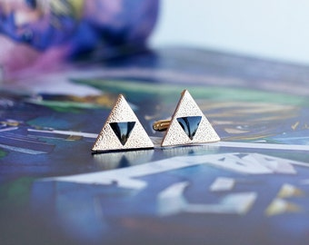 TRIFORCE Zelda cufflinks, stainles steel, gold and enamel.