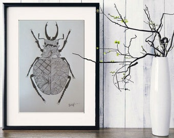 Original Art, Bug, Ink and Pencil Drawing, fine Art